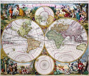 Antique Maps of the World Double Hemisphere Polar Map Gerard Valk c 1686