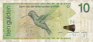 10 guilders from the (bygone) Netherlands Antilles