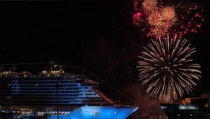 Fireworks over MSC Seaside and Biscayne Bay