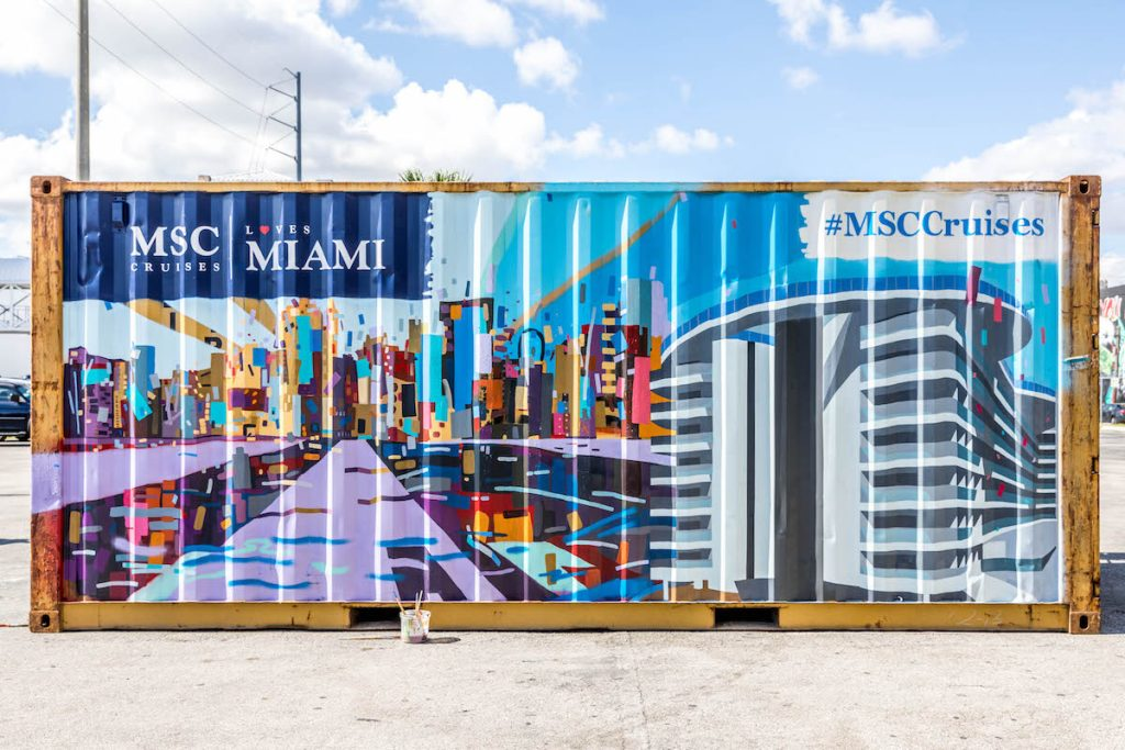 MSC Cruises shipping container art installation