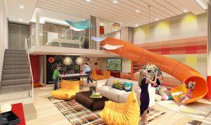 The slide in the Ultimate Family Suite aboard Royal Caribbean's Symphony of the Seas.
