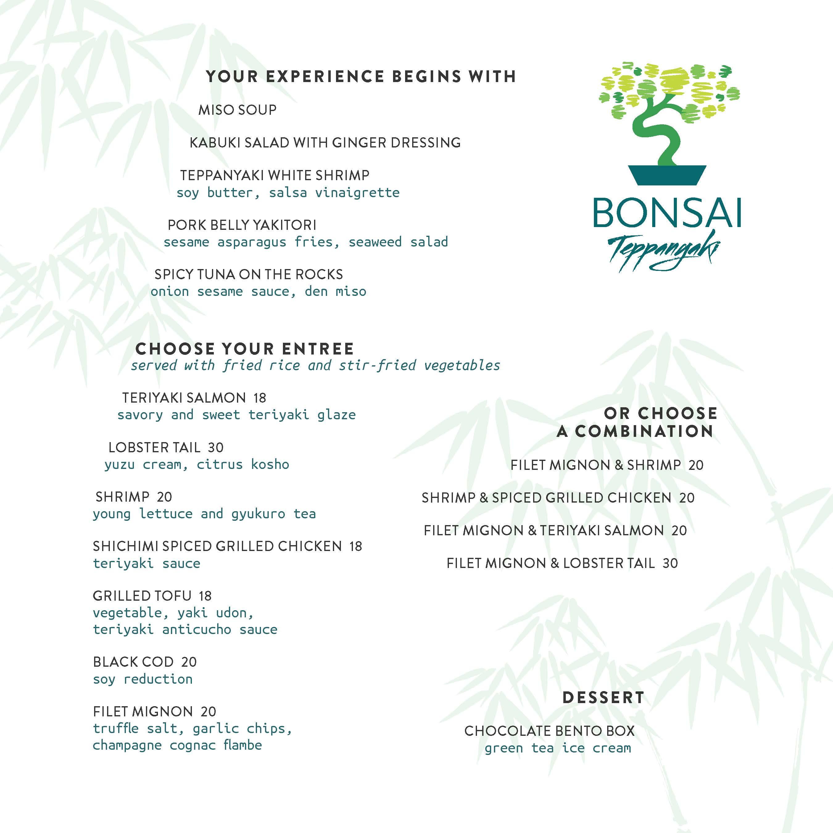 Bonsai Teppanyaki Menu