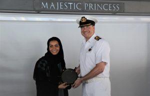 Noura Rashid Al Dhaheri, Cruise Terminal Manager- Abu Dhabi Ports, with the Captain of Majestic Princess
