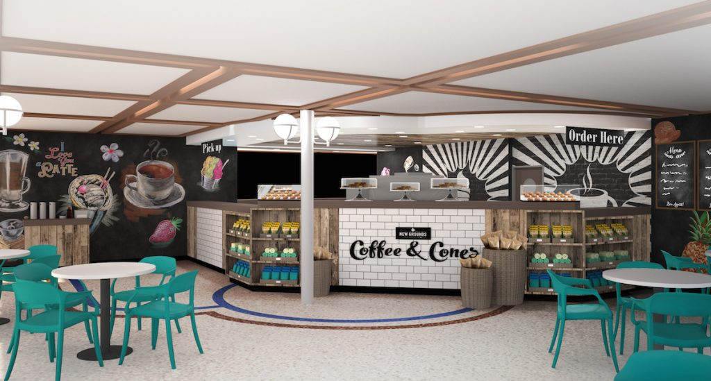 Caribbean Princess' new Coffee and Cones.