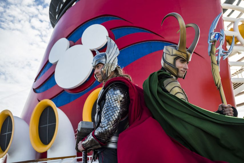Marvel Super Heroes and Super Villains like Thor and Loki are onboard for heroic encounters during Marvel Day at Sea. The event features all-day entertainment celebrating the renowned comics, films and animated series of the Marvel Universe. (Matt Stroshane, photographer)