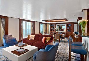 Seabourn Encore's Grand Wintergarden Suites living room