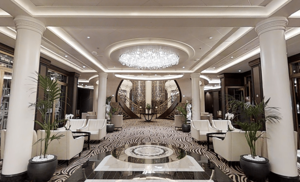 The Atrium, as seen on the virtual tour of Seven Seas Explorer