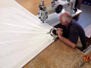 Sailmakers work on Wind Surf's sails