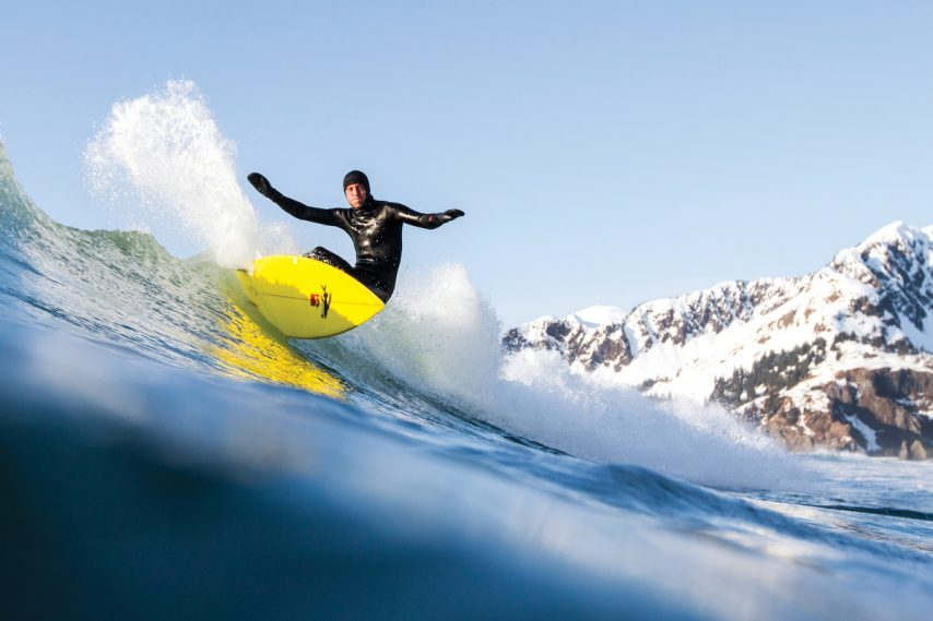 Trevor Gordon surfs Alaska