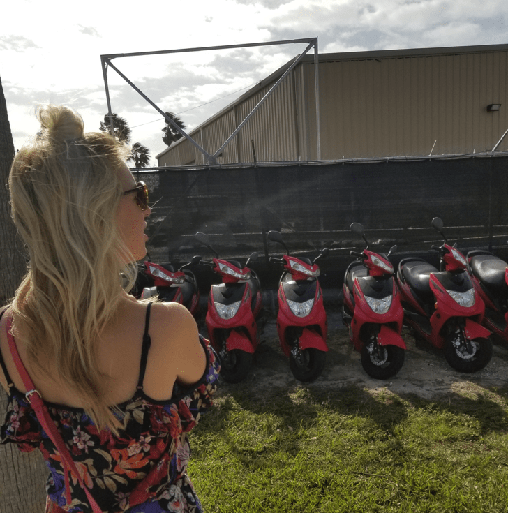 Scooter rental in Freeport. Christina Hunting