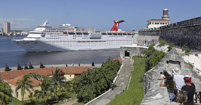 The Carnival Paradise passes the historic El Morro Castle in Havana, Cuba