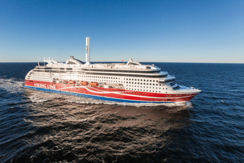 Viking Grace shows off her new rotor sail