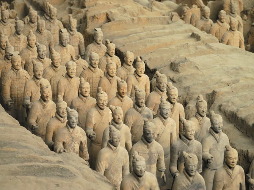 The Terracotta Army near the city of Xian in Shaanxi province in the People's Republic of China. The Terracotta Army is a collection of terracotta sculptures depicting the armies of Qin Shi Huang, the first Emperor of China. The figures, dating from 3rd century BC, were discovered in 1974 by some local farmers.