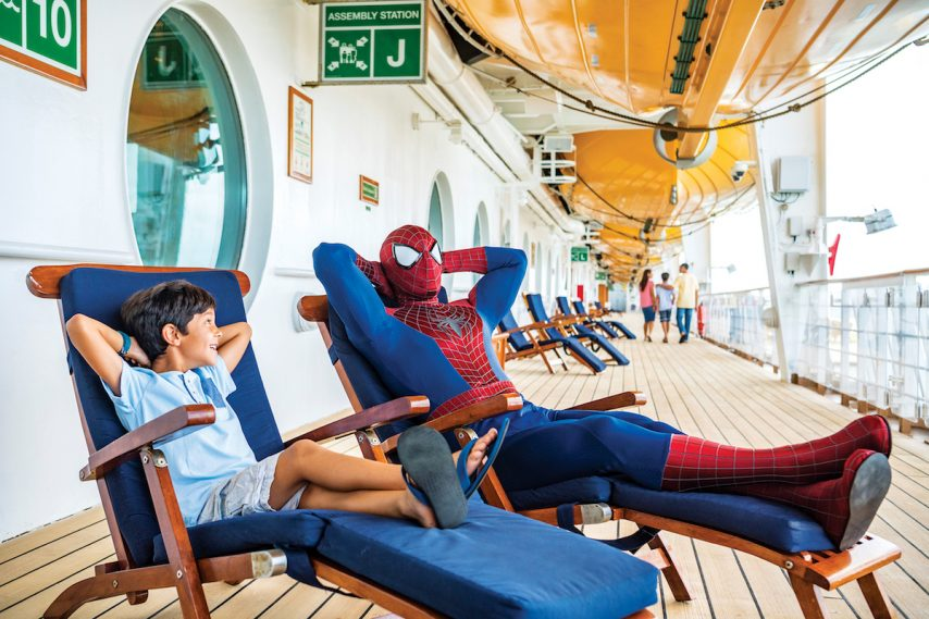 Marvel Super Heroes like Spider-Man are aboard for heroic encounters during Marvel Day at Sea. | Matt Stroshane/Disney Cruise Line