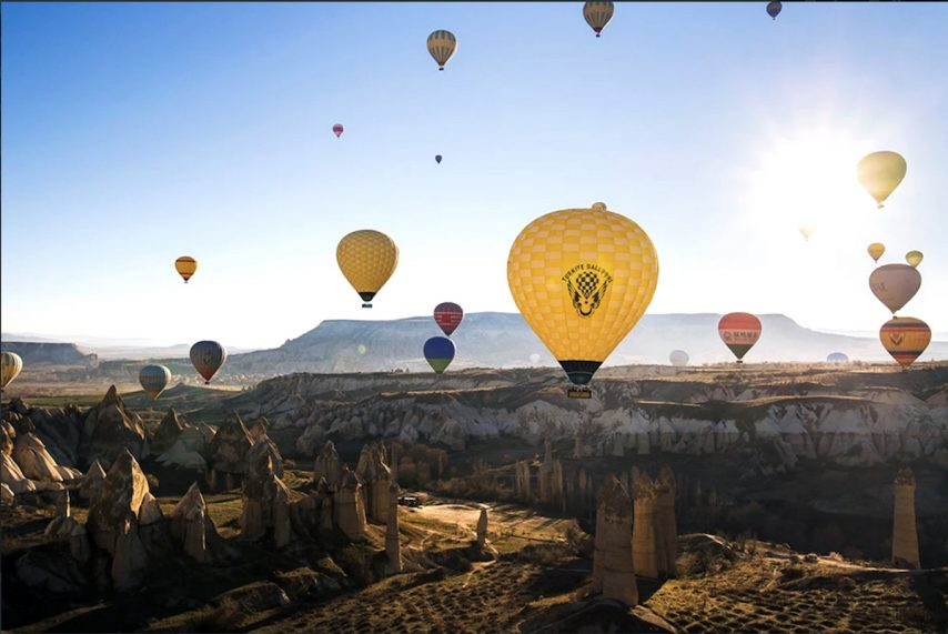Hot-air balloons over Cappadocia
