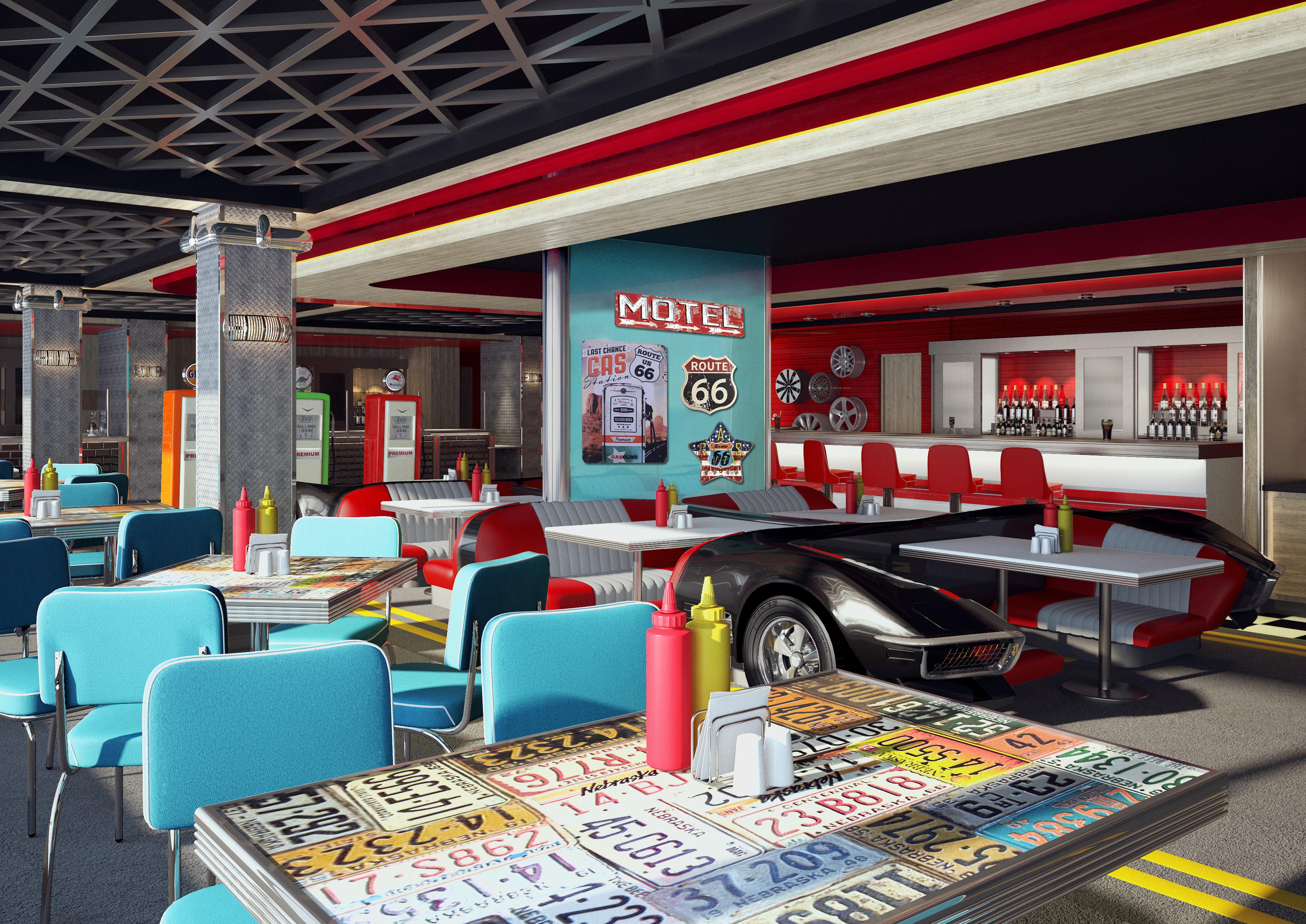 Norwegian Encore - American Diner Rendering