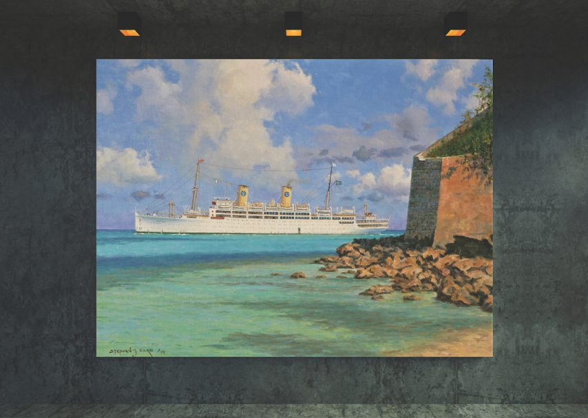 Cruise ship painting by Stephen Card