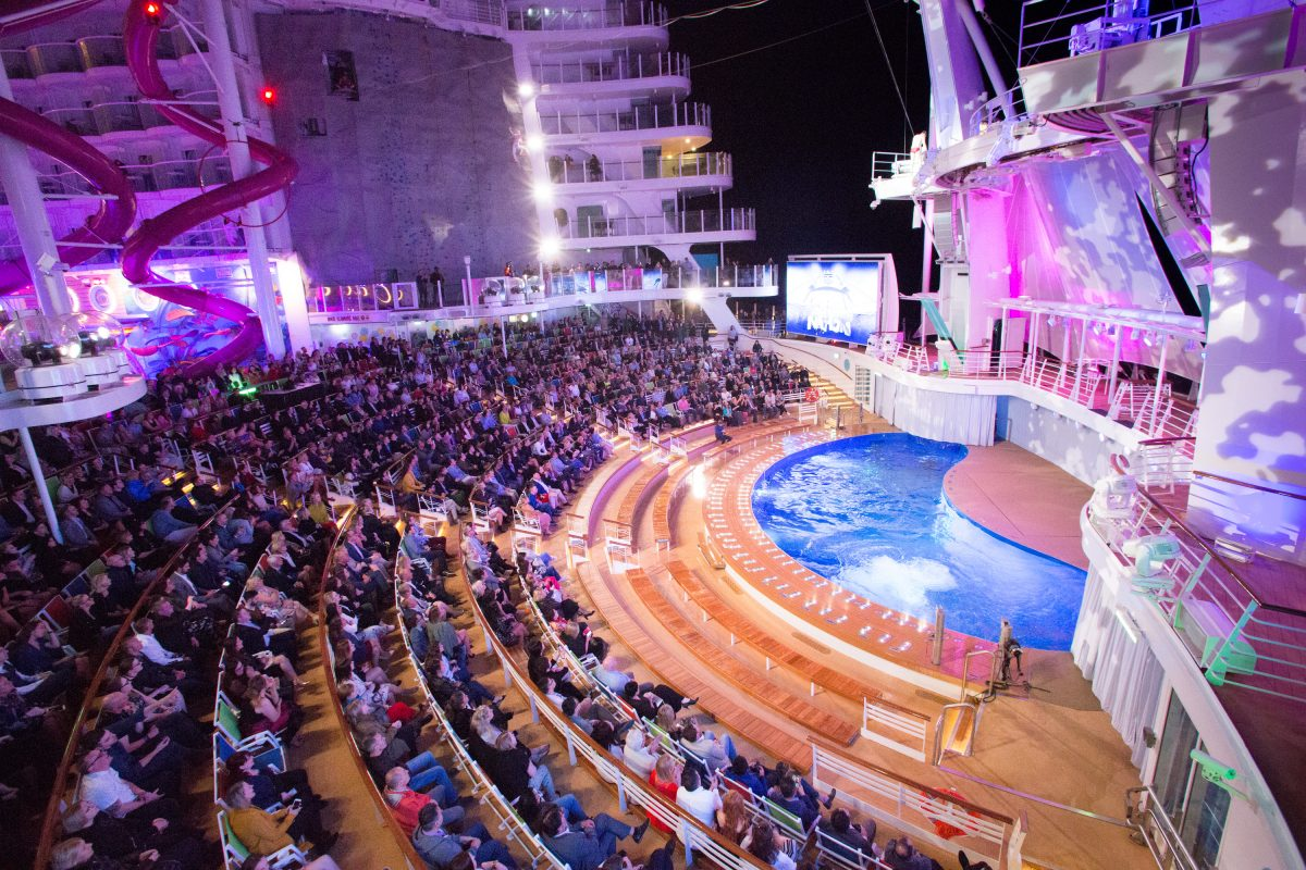 Launch of Symphony of the Seas, Royal Caribbean International's newest and largest ship.The Aqua Theatre at night.